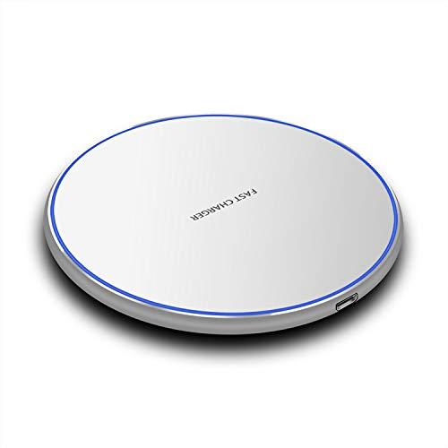 Tumnea Caricabatterie Wireless da 10 W, Caricatore rapido a induzione Qi, Caricatore rapido per Smartphone Multifunzione da Tavolo Rotondo in Metallo Compatibile per iPhone Airpods