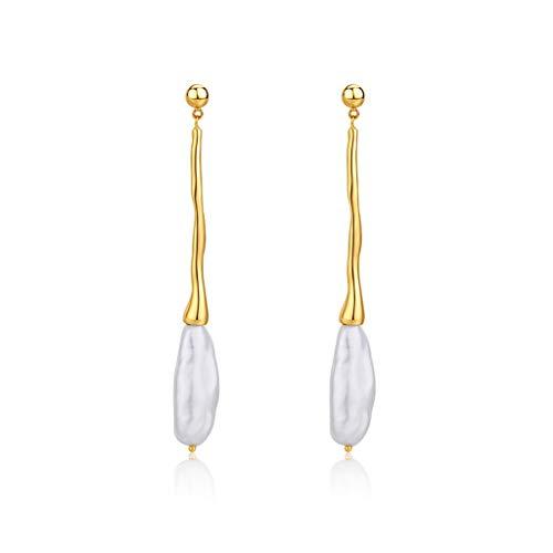 Aretes para mujer Pendientes de perlas pendientes de gota cuelga el pendiente nupcial delicada de plata de ley 925 perlas cultivadas de agua dulce manera de las mujeres cuelgan for la boda Elegante Pe