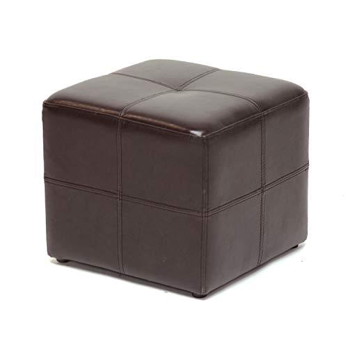 Baxton Studio Nox Brown Leather Ottoman , Dark Brown , SMALL -