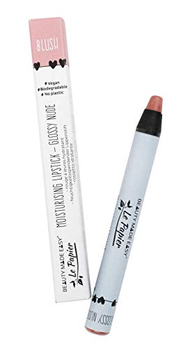 Beauty Made Easy Le Papier Vegan Moisturizing Plastic Free Lipstick with Shea Butter, Glossy Nudes BLUSH 6 g