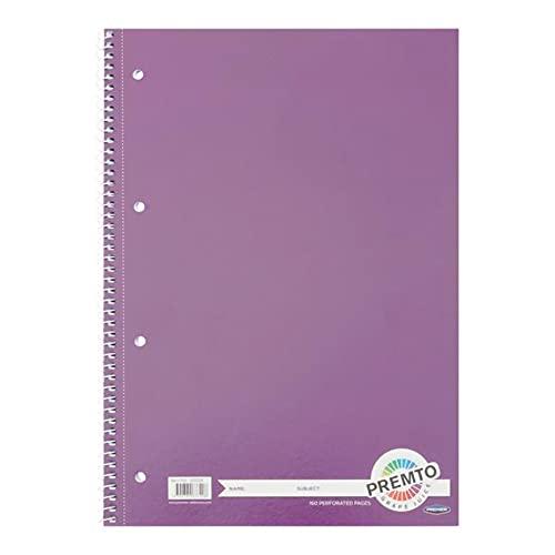 Premier Stationery Cuaderno en espiral Premto A4. 160 páginas perforadas, rayadas con margen. Perforado con 4 agujeros.Precioso color jugo de uva.