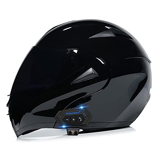 QXFJ Motorradhelm Helm Motorrad Mit Bluetooth Headset Klapphelm Mit Doppelvisier Mit Eingebautem Mikrofon FüR Automatische Reaktion ECE-Zertifizierung FüR Frauen MäNner Erwachsene S~XL