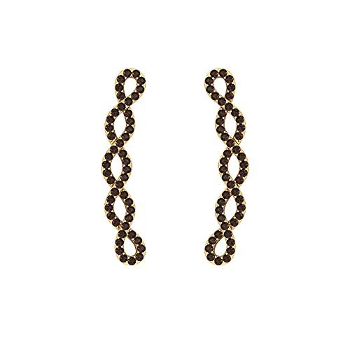 Pendientes de escalador de infinito trenzado de 3/4 quilates con cuarzo ahumado (calidad AAA), parte trasera de rosca, Metal, Cuarzo ahumado,
