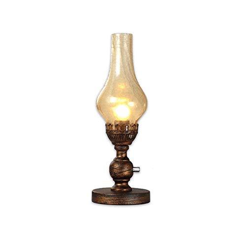 LSNLNN Lámparas de Escritorio, American Pastoral Kerosene Lantern Vintay Nostalgic Loft Horse Table Mesa Lámpara Mini Mini Creativa de Personalidad Dormitorio Lámpara de Noche de Hierro Forjado Luz d