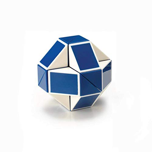Rubik's Snake | Blue and White Fidget 3D Puzzle Toy, Bend & Twist Into Shapes, Objects, and Animals