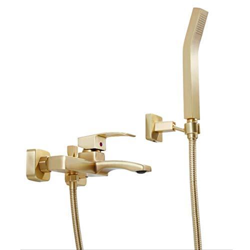 Badewannenarmatur Wand Mischbatterie Badewanne Messing Badewanne Dusche Heiß Und Kalt Wasserhahn Wandbadewanne Wasserhahn (Gold)