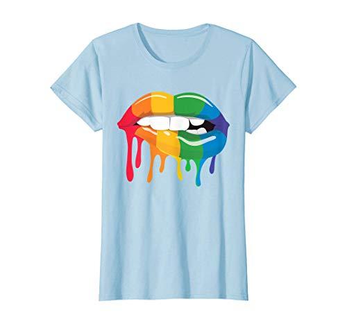 Tengyuntong Camisetas y Tops Polos y Camisas, Rainbow Lips - Camiseta con diseño de mordida mojada Que gotea