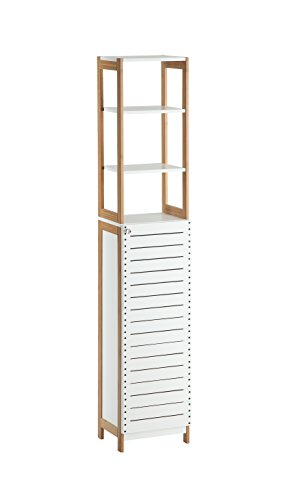 Organize It All Freestanding Bathroom Floor Cabinet Storage Tower with Above Shelving - Natural Bamboo Frame