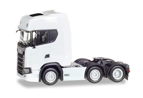 herpa, weiß 307543 Scania Zugmaschine, Fahrzeug in Miniatur zum Basteln, Sammeln und als Geschenk