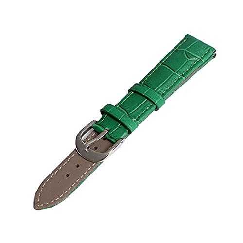 14/12/16/18/19/20/22mm mujeres de los hombres de colores de piel genuina banda de reloj de reemplazo pulsera pulseras reloj de los accesorios, Verde, 20mm