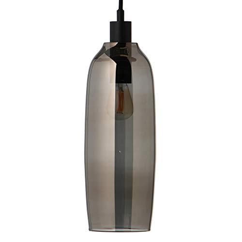 Kyoto Slim Pendelleuchte, transparent elektrogalvanisiert H 31cm Ø 10cm Stoffkabel schwarz 300cm Baldachin Metall schwarz HxØ 2,5x12,5cm