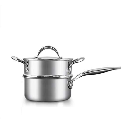 Multi-fonction, deux couches dessus et dessous, 304 en acier inoxydable pot à lait Mini ménage petit pot Supplément de nourriture pour bébé Pot Pot de lait chaud n'est pas facile à coller