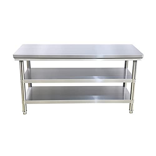 Mesa de preparación de alimentos de acero inoxidable, mesa de trabajo de cocina comercial de varios tamaños, mesa de trabajo de catering con estante para restaurante en casa, adecuada para garaje