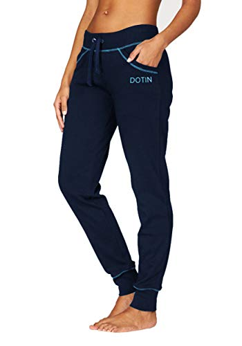 DOTIN Damen Jogginghose Sporthose High Waist Trainingshose Baumwolle Freizeithose Yoga Hose für Frauen (Navy Blau, XL)