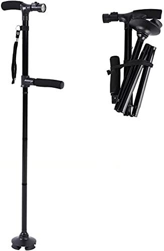 Personal Plegable Seguridad del Personal Plegable con luz Ligera Magic Cane Cane Telescopic Antideslizante 4 Cabezas para Ancianos