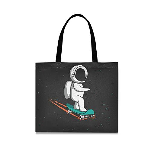 Handtasche Einkaufstasche Große Kapazität Casual Fashion Griff Space Astronaut Skateboard Wiederverwendbar
