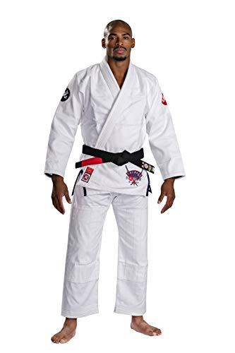 BJJ Gi - Ronin Bushido Brazilian Jiu Jitsu Gi – EVA Foam Collar Covered in Duck Canvas – 450 GSM Pearl Weave and Cotton Pants - Professional Kimono BJJ Uniform Approved IBJJF (A2L, White)