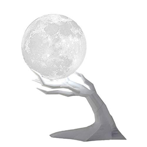 Pamura - Happy Moon - Aroma Diffuser - 3D Mond Lampe - Led Licht Lampe - ätherische Öle - Zimmer Deko - Nachtlicht - Lufterfrischer Wohnung - Zweig