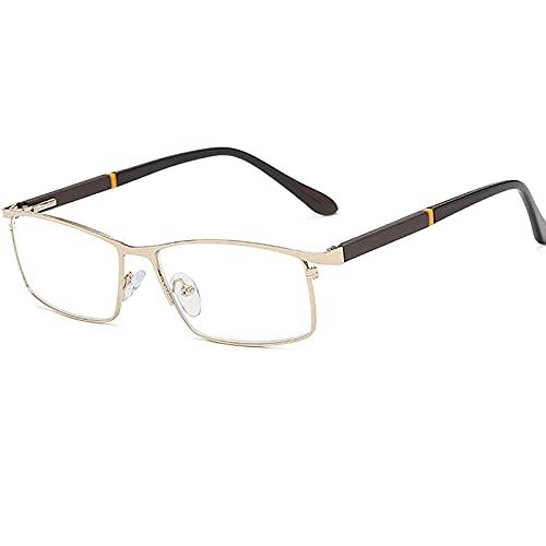 ROSG Gafas de Lectura para Hombre, cuadradas, cuadradas, de Marco Completo, de Metal Ligero y Material para PC, bisagras elásticas Son cómodas y no sujetan la Cara, adecuadas para una Variedad de