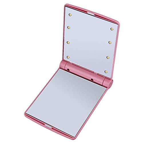 LASISZ Pliable Miroir LED Portable Poche Compacte 8 Lumières LED Composent Miroir Illuminé Cosmétique Outils de Beauté de Table, Rouge