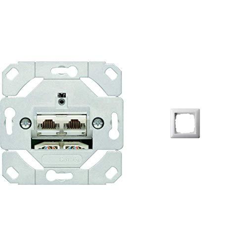 Gira 245200 Netzwerkdose 2-fach Cat.6A IEEE 802.3an Unterputz Einsatz & 021103 Rahmen 1-fach ST55, reinweiß-glänzend