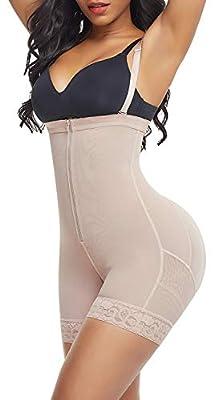 FeelinGirl Women's Waist Trainer Bodysuit Butt Lifter Tummy Control Shapewear Hi-Waist Thigh Slimmer Body Shaper Open Bust Beige,XL