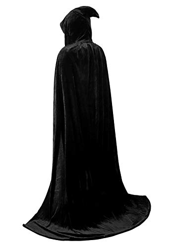 Full Length Unisex Tunic Hooded Robe Cloak Adult Halloween Costume for Men Cosplay Capes Black Small