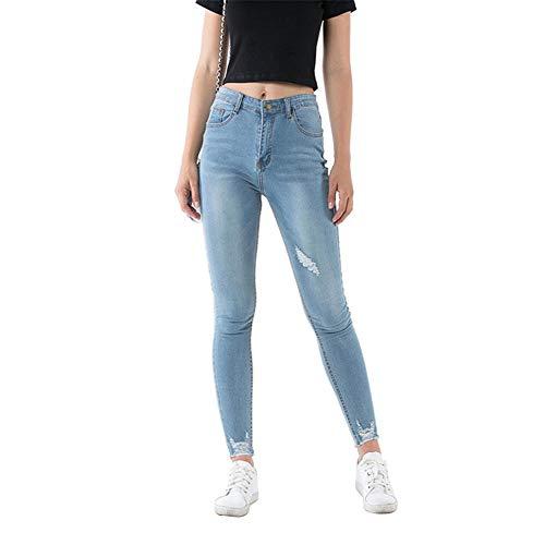 FCWJHNTSL Tattered Stretch Jeans Frauen Sommer und Herbst Mode Mode Mädchen Sexy Skinny High Waist Licht Farbe Hosen-M.