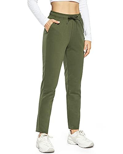 OUGES Damen Jogginghose Yoga Hose Baumwolle Sporthose Lang Freizeithose Trainingshose mit Taschen für Frauen(Olive,S)