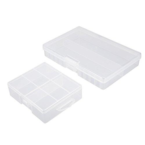 sourcingmap 2Pcs Portable 24 boîte de Stockage de Piles AA conteneur de Protection de 48 Piles AA
