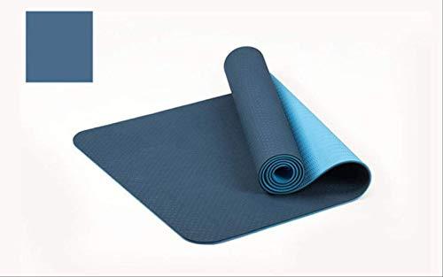 183 * 61cm 6mm Dikke dubbele kleur anti-slip TPE Yoga Mat Kwaliteit Oefening Sportmat voor Fitness Gym 183x61cm Blauw
