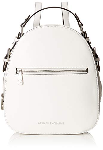 Armani Exchange - Backpack With Zip, Mochilas Mujer, Blanco (White), 27x8.5x23.5 cm (B x H T)