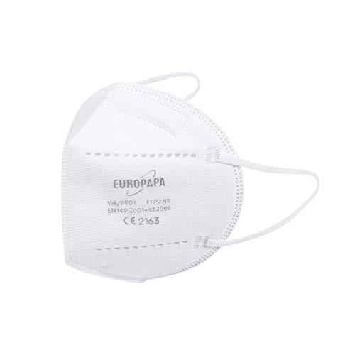 20er-Pack FFP2 Einweg Atemschutzmaske CE zertifizierte und DEKRA geprüfte 5-Lagen-Mundschutzmaske von EUROPAPA - 9