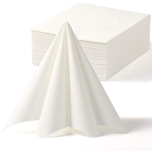 LEKOCH Disposable Guest Towel Linen Feel White Weddings Napkin,Air-laid Napkins  Paper Hand Towels for Valentine s Day Banquet  Kitchen  Parties 16  x 16  (50 PACK)