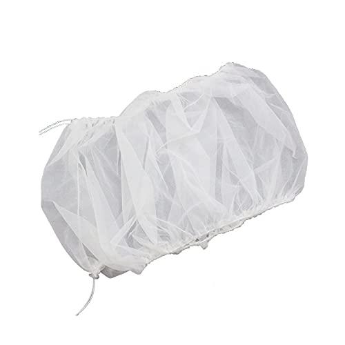 LACKINGONE Vogelkäfig Abdeckung Vogelkäfig Schutznetz Mesh Seed Catcher Elastisch Netzgewebe mit Verstellbaren Kordelzug Käfigabdeckung zum Auffangen, keinen Vogelkäfig beinhaltet (Weiß)