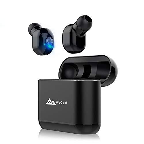 WeCool Moonwalk M2T True Wireless Bluetooth Earphones || Wireless Earbuds || Wireless Headphones || Bluetooth Headphones Wireless with mic and Portable Charging Box, Black + Free Leather Carry Pouch