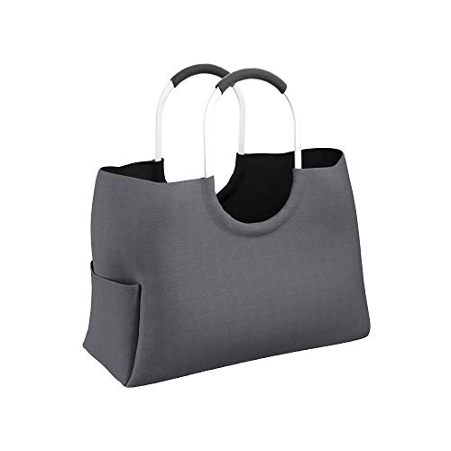 LOMOS Einkaufstasche aus wasserabweisendem Kunststoff in grau, Größe L