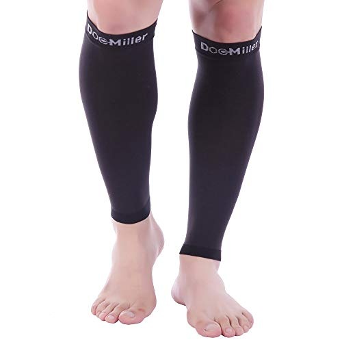 Doc Miller Premium Calf Compression Sleeve 1 Pair 20-30mmHg Strong Calf Support Fashionable Colors Graduated Pressure for Sports Running Muscle Recovery Shin Splints Varicose Veins (Black, Medium)