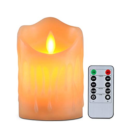 Flameless Candles with 10 Key Remote Timer Flickering Tear Wave Shaped Tealight Real Wax Simulate Dripping led Candles Battery Operated Safe for Indoor Decor Size 3' x 3.5'' and 3 x 4'
