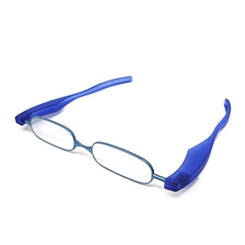 【ポッドリーダー スマート-ブルーライトカット対応レンズ】ブルーライトカット 超軽量 コンパクトな折りたたみ式 老眼鏡 4色 +1.0~+3.0 胸ポケットに入るサイズ Podreader-Blue light cut (+3.0, ブルー)