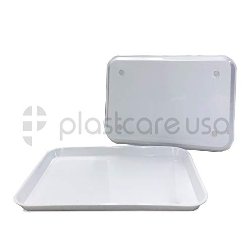 Dental Autoclavable Plastic Instrument Set Up Flat Tray, White, 13.25 Inches x 9.75 Inches, Size B