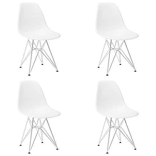 VERDELZ Set of 4 Modern Design Dining Chair with Chrome Metal Legs, Nordic Style Exquisite Design Chair for Living Room, Office, Study, Bedroom, White
