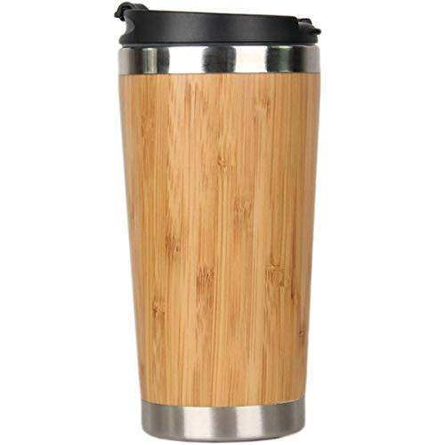 Taza de café de bambú de 450 ml de acero inoxidable taza de viaje con cubierta a prueba de fugas aislada café acompañante taza reutilizable Woode