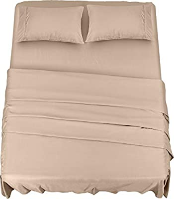 Utopia Bedding Bed Sheet Set - 4 Piece Queen Bedding - Soft Brushed Microfiber Fabric - Shrinkage & Fade Resistant - Easy Care (Queen, Beige)