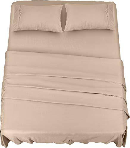 Utopia Bedding Juego Sábanas de Cama - Microfibra Cepillada - Sábanas y Fundas de Almohada (Cama 135, Beige)