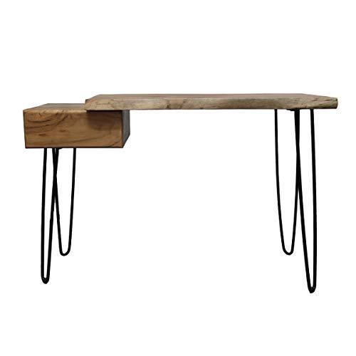 Biurko, stolik pomocniczy, stolik do salonu, stolik kawowy, konsola z szufladą, drewno akacjowe (biurko)