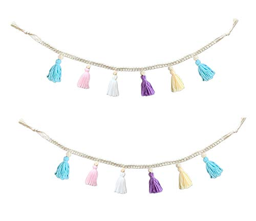 ZOONAI 2 Pack Macrame Cotton Tassel Garland Banner with Beads Wall Decor Woven Home Decoration for Bedroom Nursery Baby Kids Room (Blue Yellow Purple White Pink)