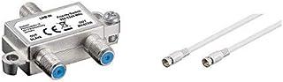 Goobay 51445 SAT Schalter verteilt/schaltet 1 LNB auf 2 SAT Receiver & SAT Anschluss Kabel, weiß F Stecker   F Stecker 1,5m