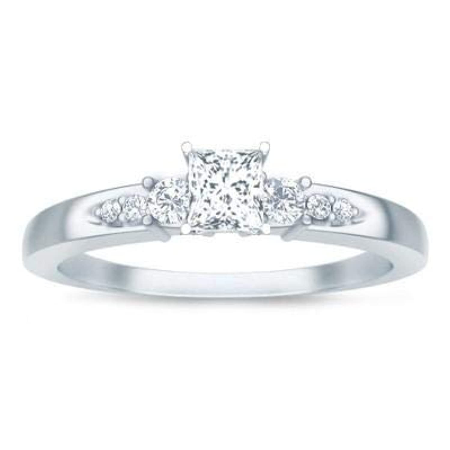 Cheap Moissanite Engagement Ring 1.25 Carat with Real Diamonds with 18k Gold Plating