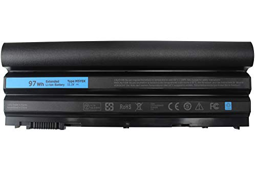 11.1V 97Wh 9cell M5Y0X Laptop Battery for Dell Latitude E6420 E6430 E6520 E6530 E5420 E5520 E5430 E5530,Compatible P/N: T54FJ 2P2MJ 312-1325 312-1165 PRV1Y